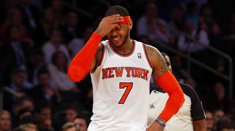 Carmelo Anthony of the Knicks stands on the