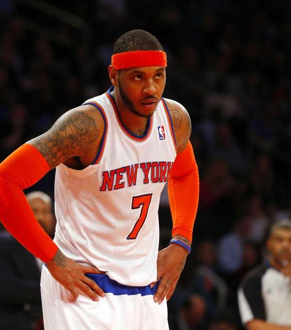 Carmelo Anthony of the Knicks looks on against