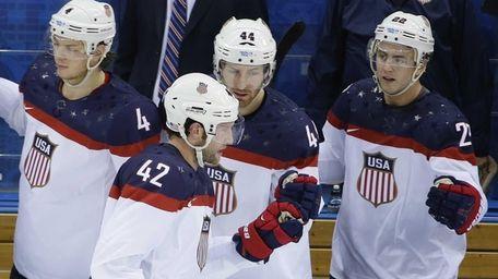 USA forward David Backes celerates his goal against