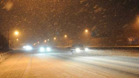 Treacherous road conditions along the westbound Long Island