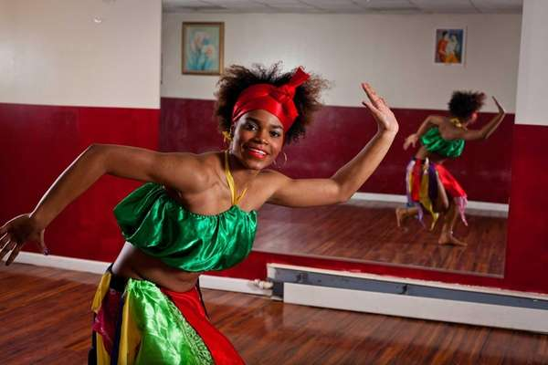 Dance student Alexandra Jean-Joseph of Bellerose demonstrates traditional