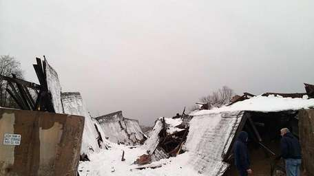 A Brookhaven Town salt storage shed collapsed Thursday