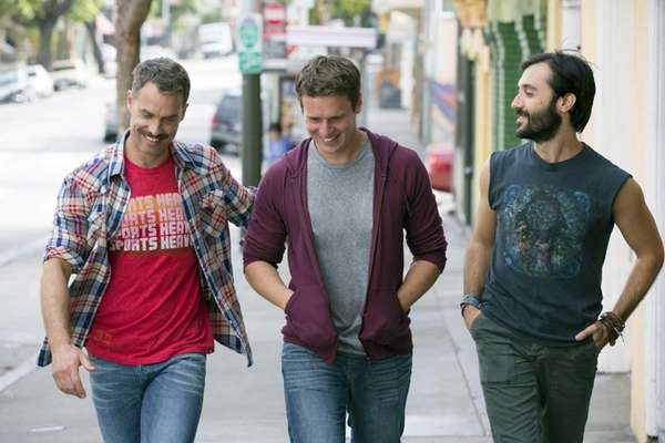 From left, Murray Bartlett, Jonathan Groff and Frankie