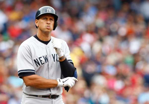 Alex Rodriguez plays against the Boston Red Sox