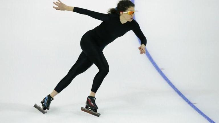 Maria Lamb of the U.S. skates in a