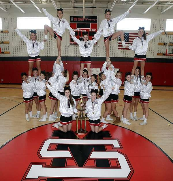 The Mount Sinai High School cheerleaders pose in