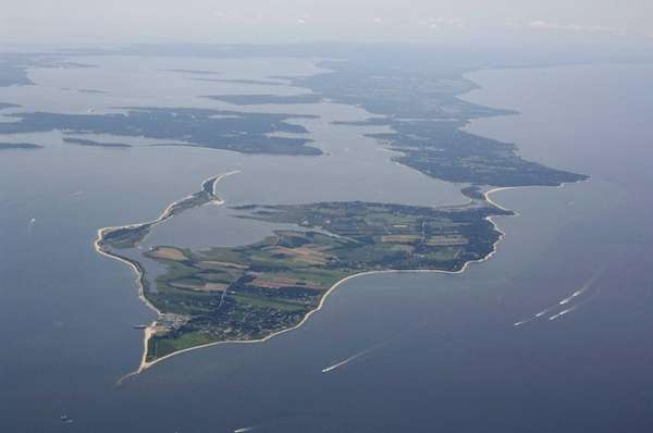 An aerial view of the North Fork of