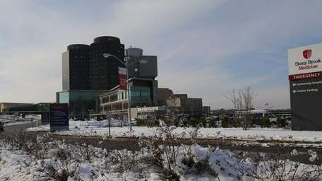 Stony Brook University Hospital is shown on Feb.
