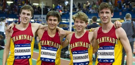 Chaminade's winning 4x800m relay team of Tom Slattery,