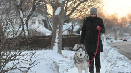 Jen Nelson, of Patchogue, walks her dog, Valentino,