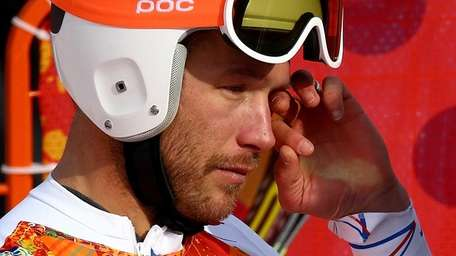 USA's Bode Miller reacts during the Alpine Skiing