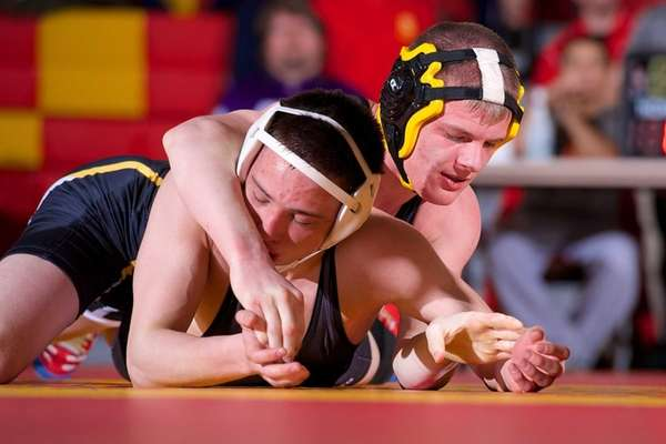St. Anthony's Frederick Dunau wrestles against Fordham Prep's