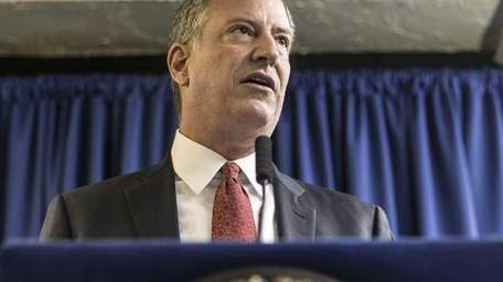 New York Mayor Bill de Blasio at a