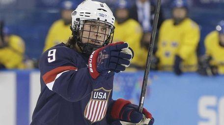 Megan Bozek of the United States celebrates her