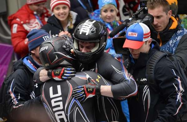 USA-1 two-man bobsleigh pilot Steven Holcomb and brakeman