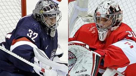 United States goaltender Jonathan Quick and Canadian goaltender