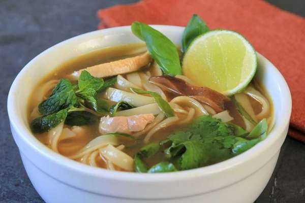 An Asian-style chicken soup made with rice noodles.