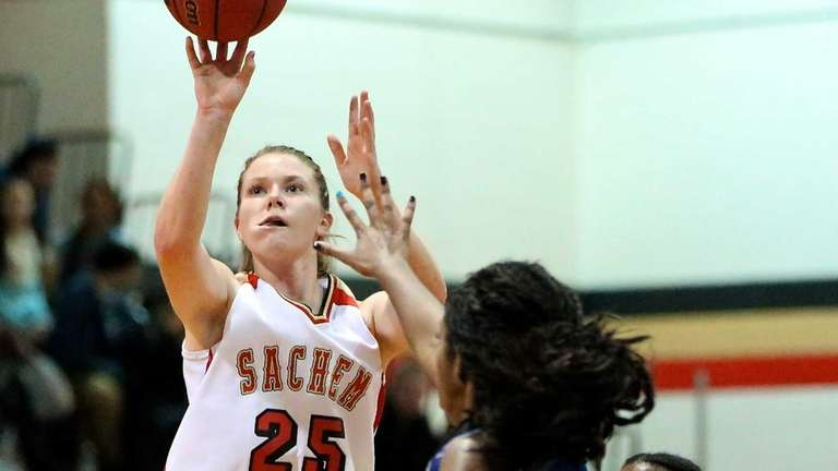 Sachem East's Katie Doherty pulls up for the