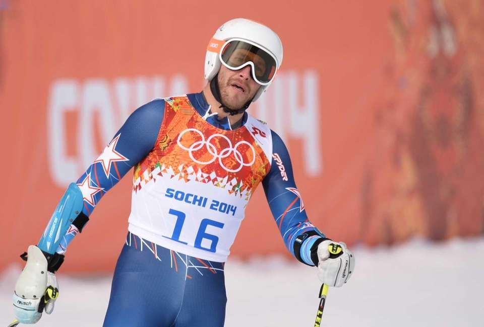 Bode Miller reacts after the Men's Alpine Skiing