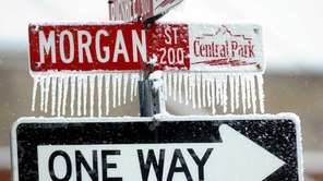 Icicles cling to a street sign on Feb.
