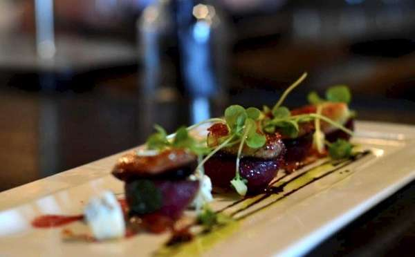 Roasted baby beets with maitake mushroom, goat cheese,