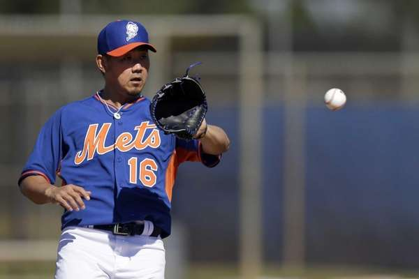 Mets pitcher Daisuke Matsuzaka catches a ball during