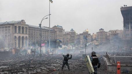 KIEV, UKRAINE - FEBRUARY 19: Berkut riot police