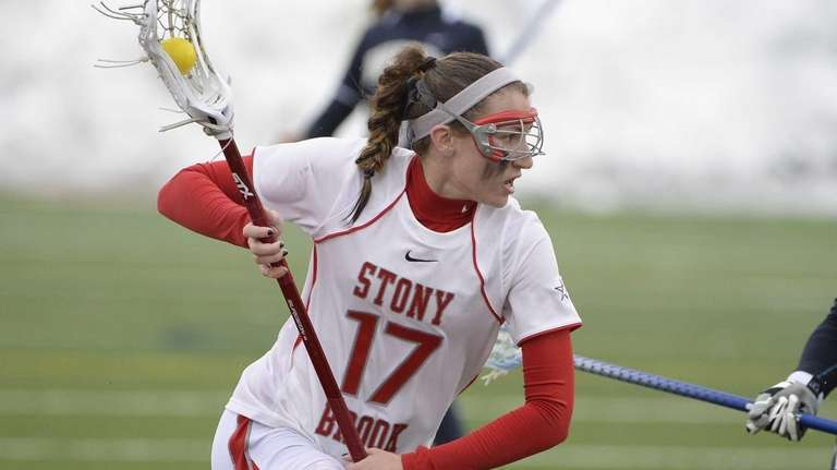 Stony Brook midfielder Kristin Yevoli controls the ball