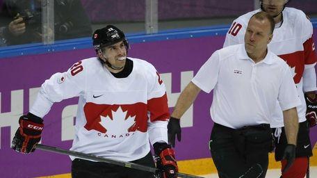 Canada forward John Tavares skates off the ice