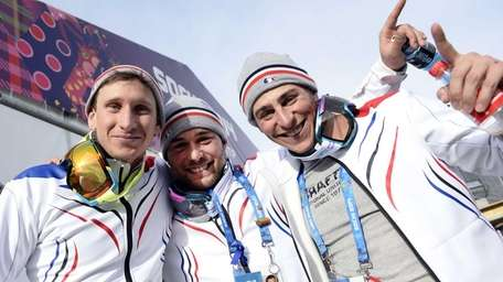 From left, France's bronze medalist Jonathan Midol, silver