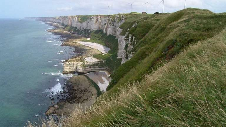 The Etretat coast of Normandy is among the