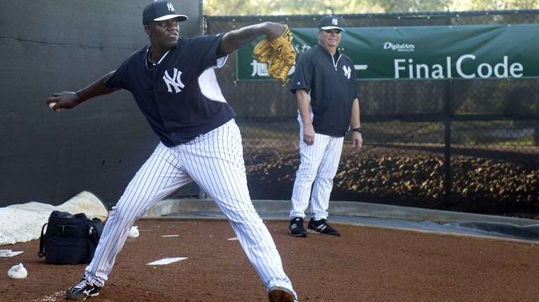 Yankees pitcher Michael Pineda works out at Steinbrenner