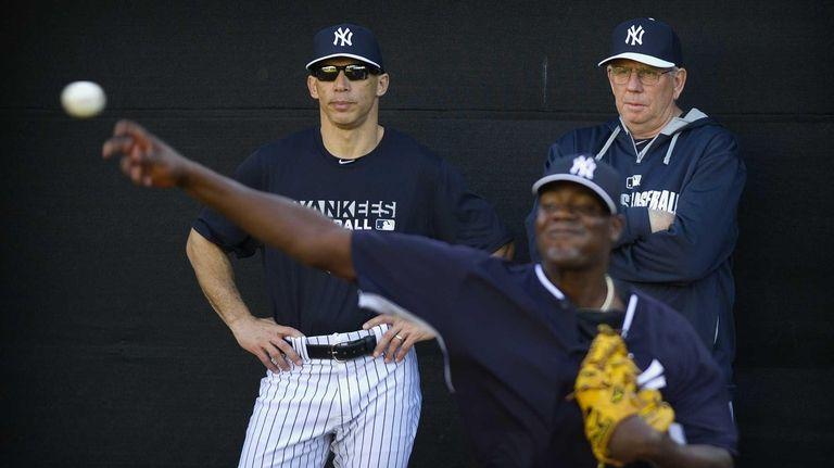 Yankees manager Joe Girardi and pitching coach Larry