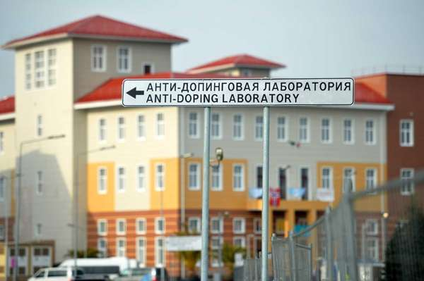 A sign shows the direction to the anti-doping