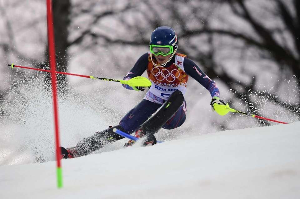 US skier Mikaela Shiffrin competes during the Women's