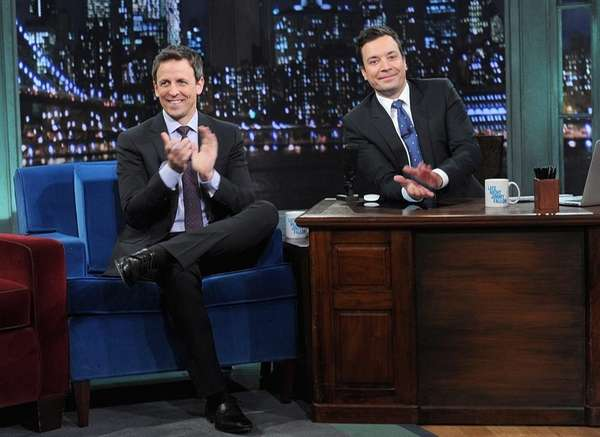 Seth Meyers and Jimmy Fallon on the Jan.