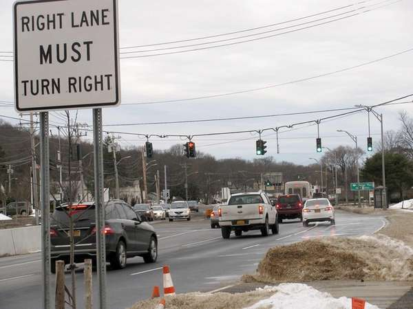 On northbound Route 110 in Melville, where drivers