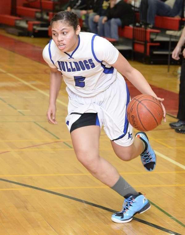 North Babylon guard Brianna Jones drives the ball