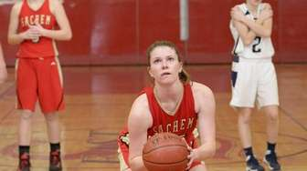 Sachem East guard Katie Doherty sinks her foul