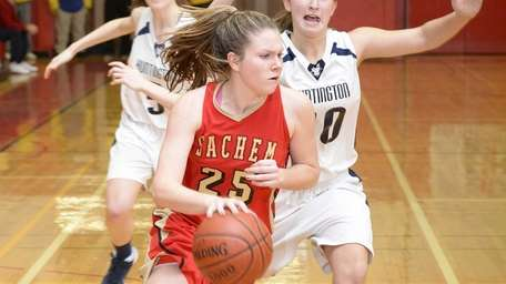 Sachem East guard Katie Doherty drives the ball
