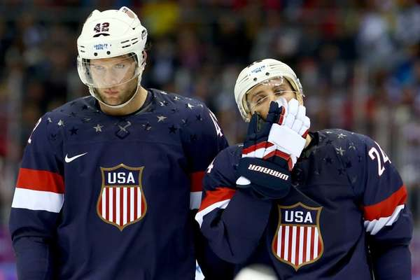 Team USA's David Backes and Ryan Callahan look