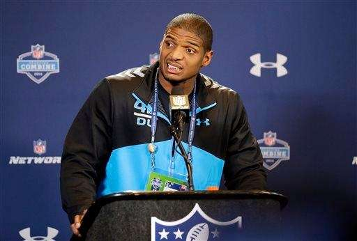 Missouri defensive end Michael Sam speaks during a