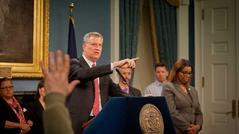 Mayor Bill de Blasio is shown at a