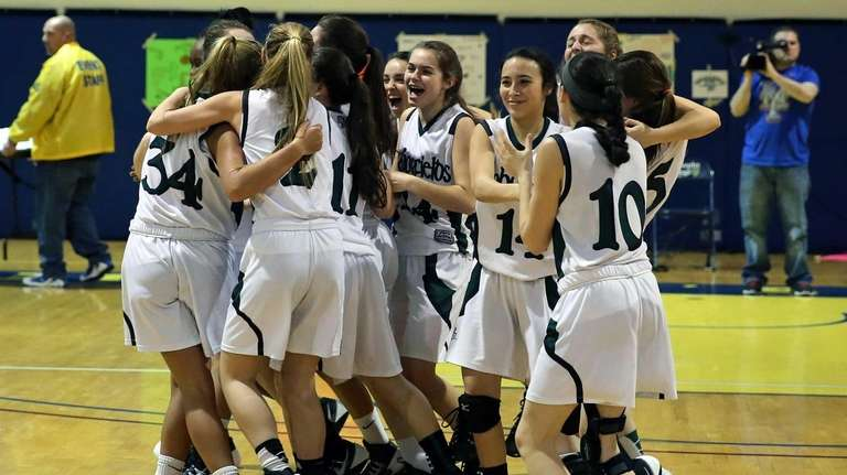 Harborfields rushes onto the court as the final