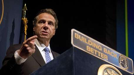 New York Gov. Andrew Cuomo gives a speech