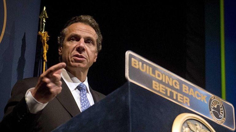 New York Gov. Andrew Cuomo gives a speech