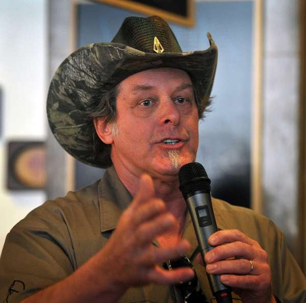 Longtime rocker Ted Nugent speaks to a crowd