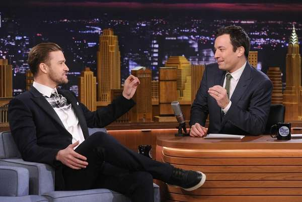 Actor/musician Justin Timberlake during an interview with host