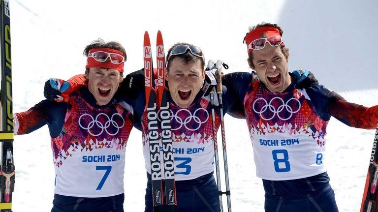 Silver medalist Russia's Maxim Vylegzhanin (7) gold medalist