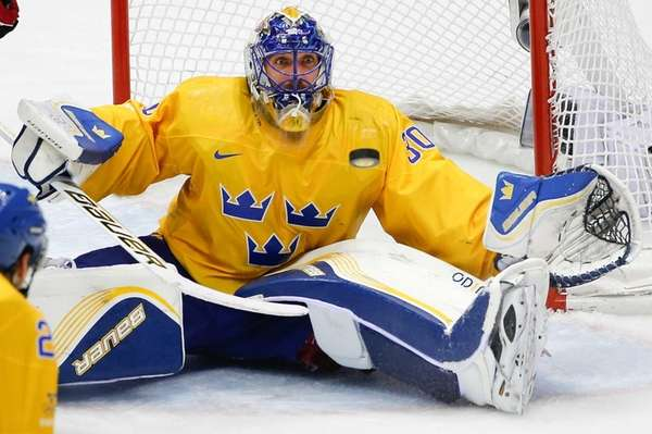 Goalkeeper Henrik Lundqvist of Sweden (30) looks at